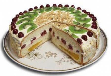 Рецепт бисквитного торта  фруктами