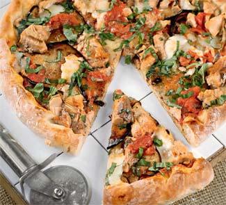 Рецепт пиццы с баклажанами и лососем