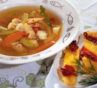 Рецепт рыбного супа с полентой