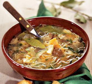 Рецепт грибного супа с курицей и вермишелью