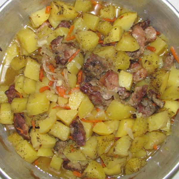 Рецепт тушёная картошка с мясом в духовке