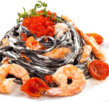 черные макароны с морепродуктами