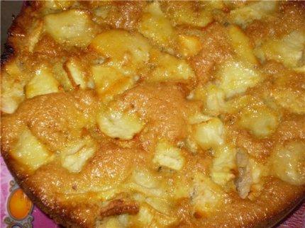 шарлотка яблочная на кефире