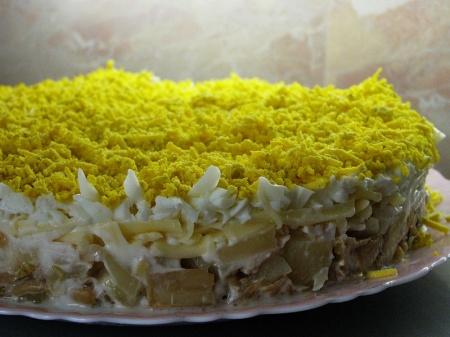 Салат из курицы с ананасами слоями. Рецепт слоеного салата с курицей и ананасами